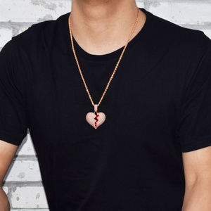 Men's Solid Broken Heart Iced Out Pendant & Chain